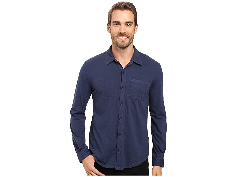 056db4d3909 Mod-o-doc Summerland Knit Long Sleeve Jersey Button Front Shirt (New Navy)  Men's Long Sleeve Button Up. Liven up the party with a handsome mododoc ...