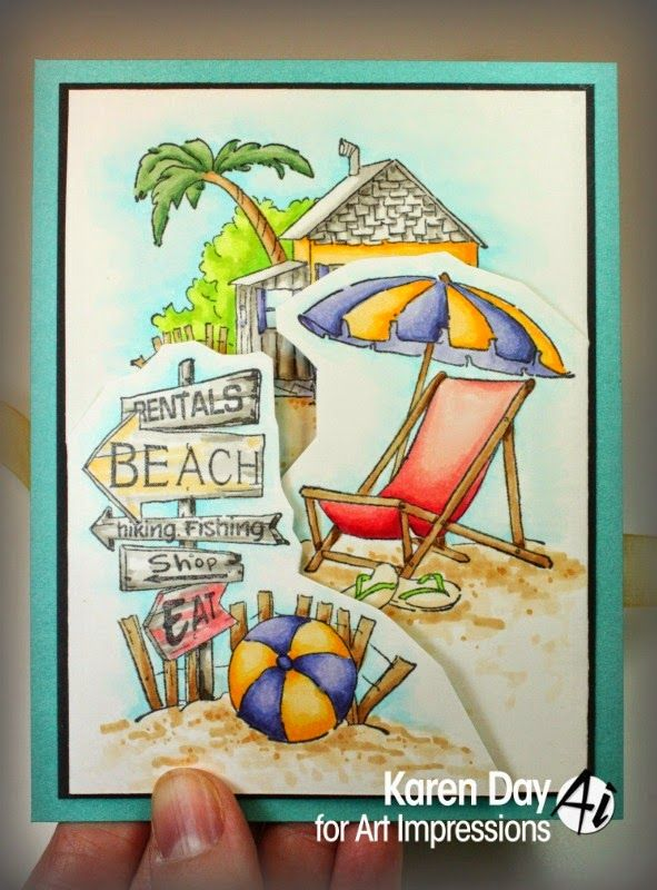 Art Impressions Rubber Stamps: Beach TF Set by Karen Day