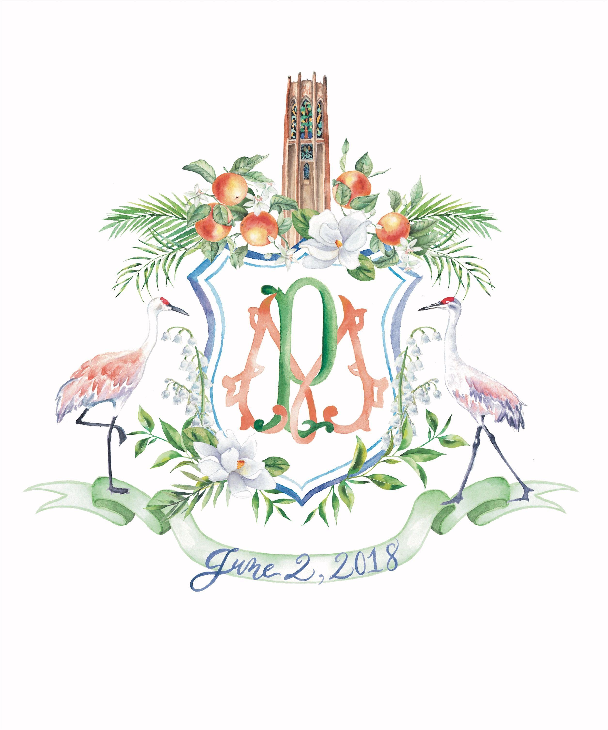 Wedding Crests And Heraldry Lemontree Calligraphy Illustration