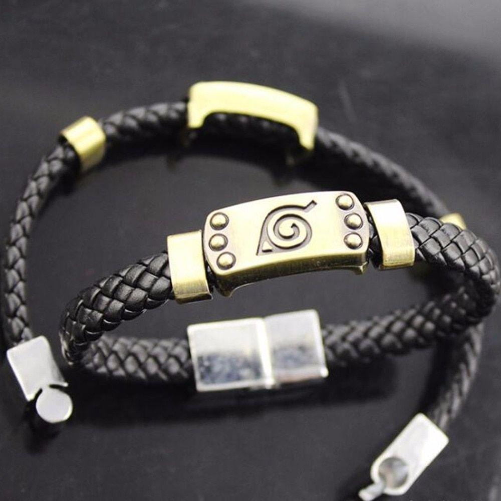 NARUTO SHIPPUDEN Konoha Leaf Village Logo Bracelet PU Leather Wristband Gifts