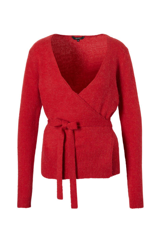 lang rood wollen vest