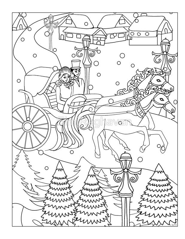 Winter Wonderland T Shirt Horse Carriage Couple Riding Through The Snow Perfect Colorable Design For Christmas Greeting Card By Simiraghavan Horse Carriage Easter Coloring Pages Winter Wonderland