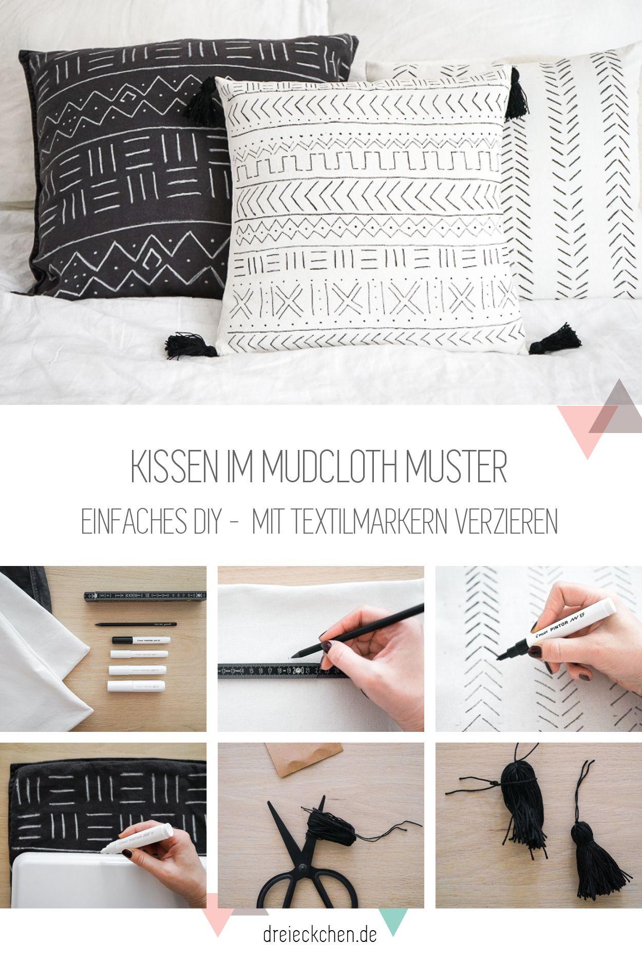 Einfaches Diy Im Moho Stil Kissen Mit Textilmarker Im Mudcloth