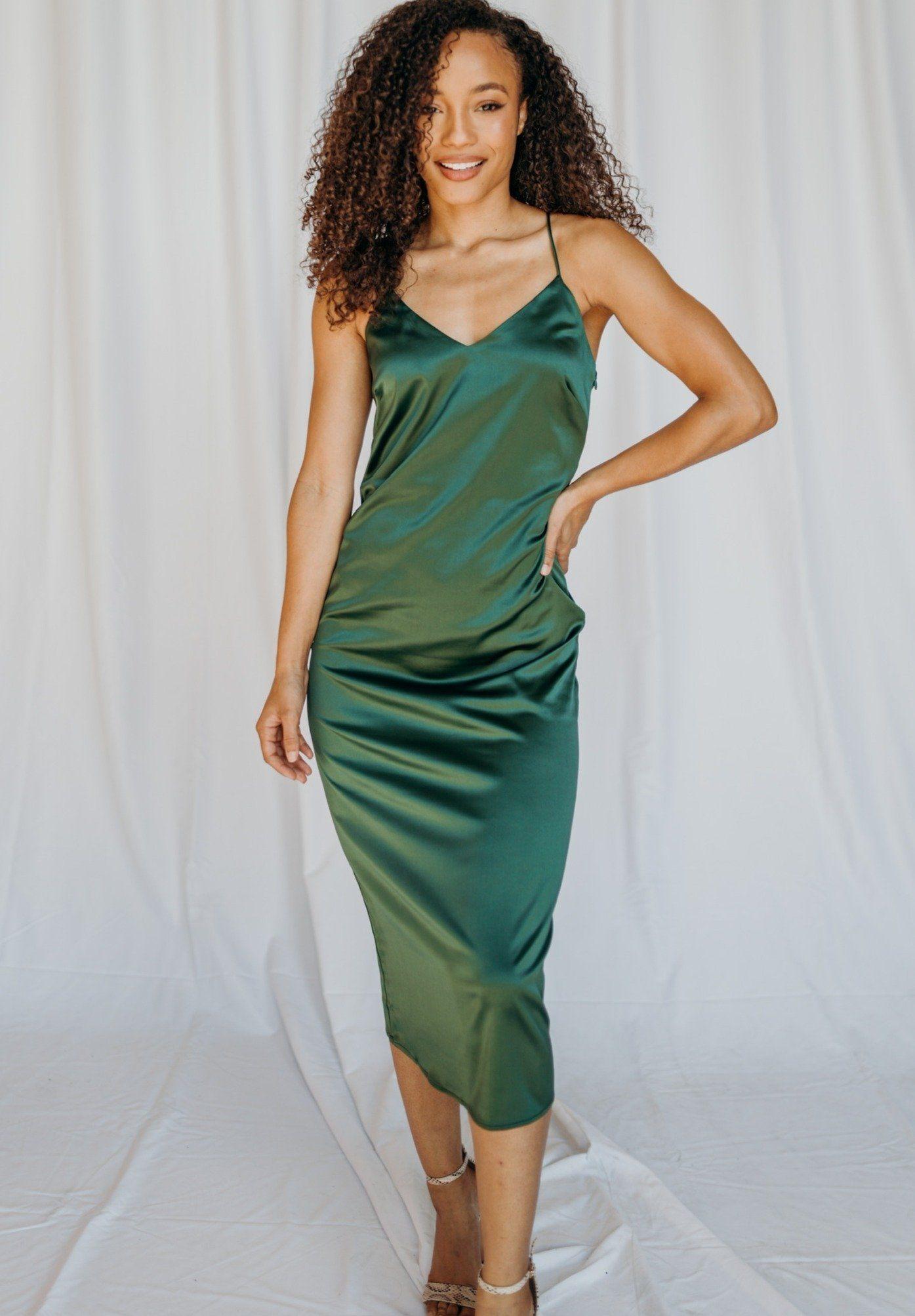 Simply Satin Midi Dress Green S Simple Green Dress Satin Midi Dress Dresses [ 2007 x 1395 Pixel ]