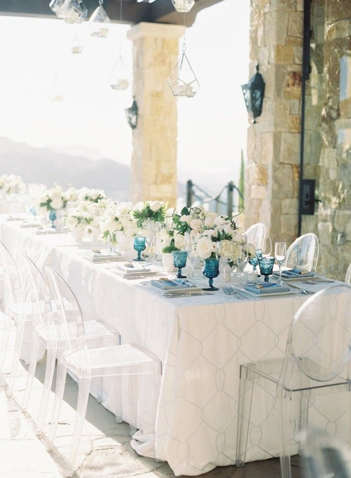 Blue colour scheme for wedding reception