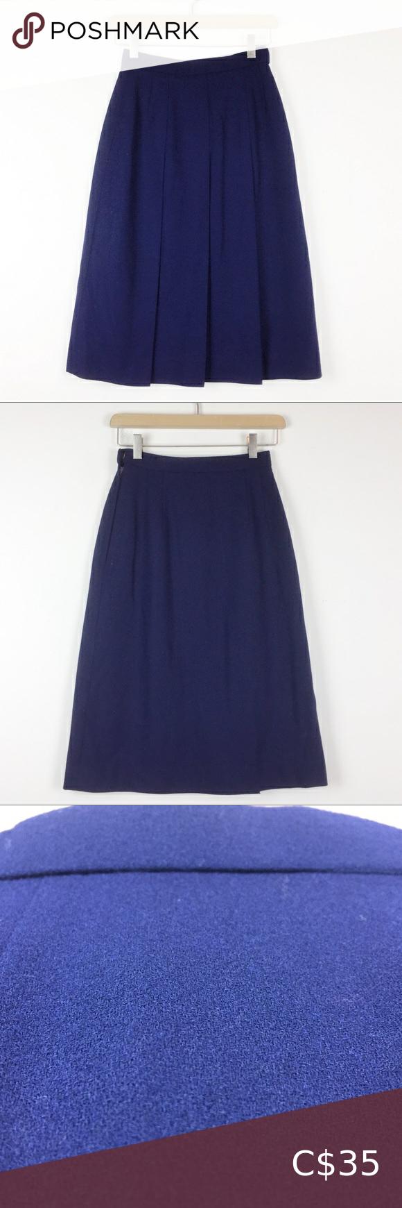 Vintage Navy Blue Pleated A Line Midi Skirt Japan In 2020 Midi Skirt Vintage Skirt Aline Midi Skirt