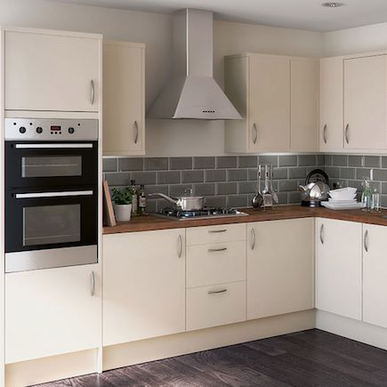 Cream Kitchen With Grey Tiles And Wooden Worktop Google Search