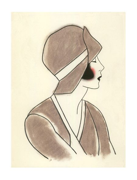 1920 art deco girl art poppy iii 4 x 6 print 4 for 3 art deco 50th and printing. Black Bedroom Furniture Sets. Home Design Ideas