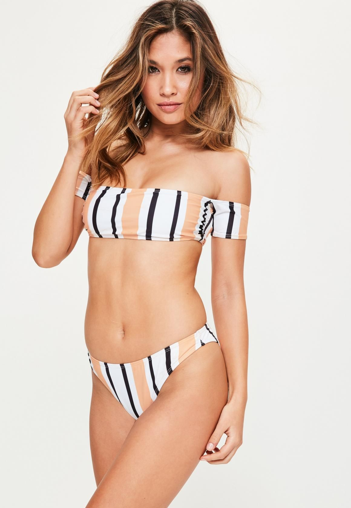 b3a4e7ee5c9 Missguided - White Stripe Bardot Bikini Set