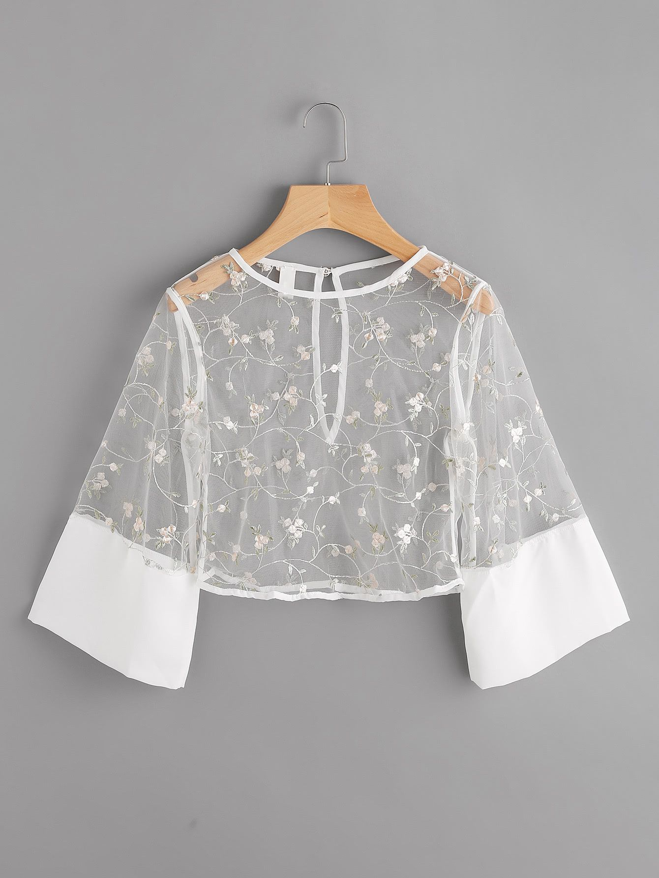 25f56aa62f0 Shop Contrast Cuff Keyhole Back Embroidery Mesh Crop Top online. SheIn  offers Contrast Cuff Keyhole Back Embroidery Mesh Crop Top   more to fit  your ...