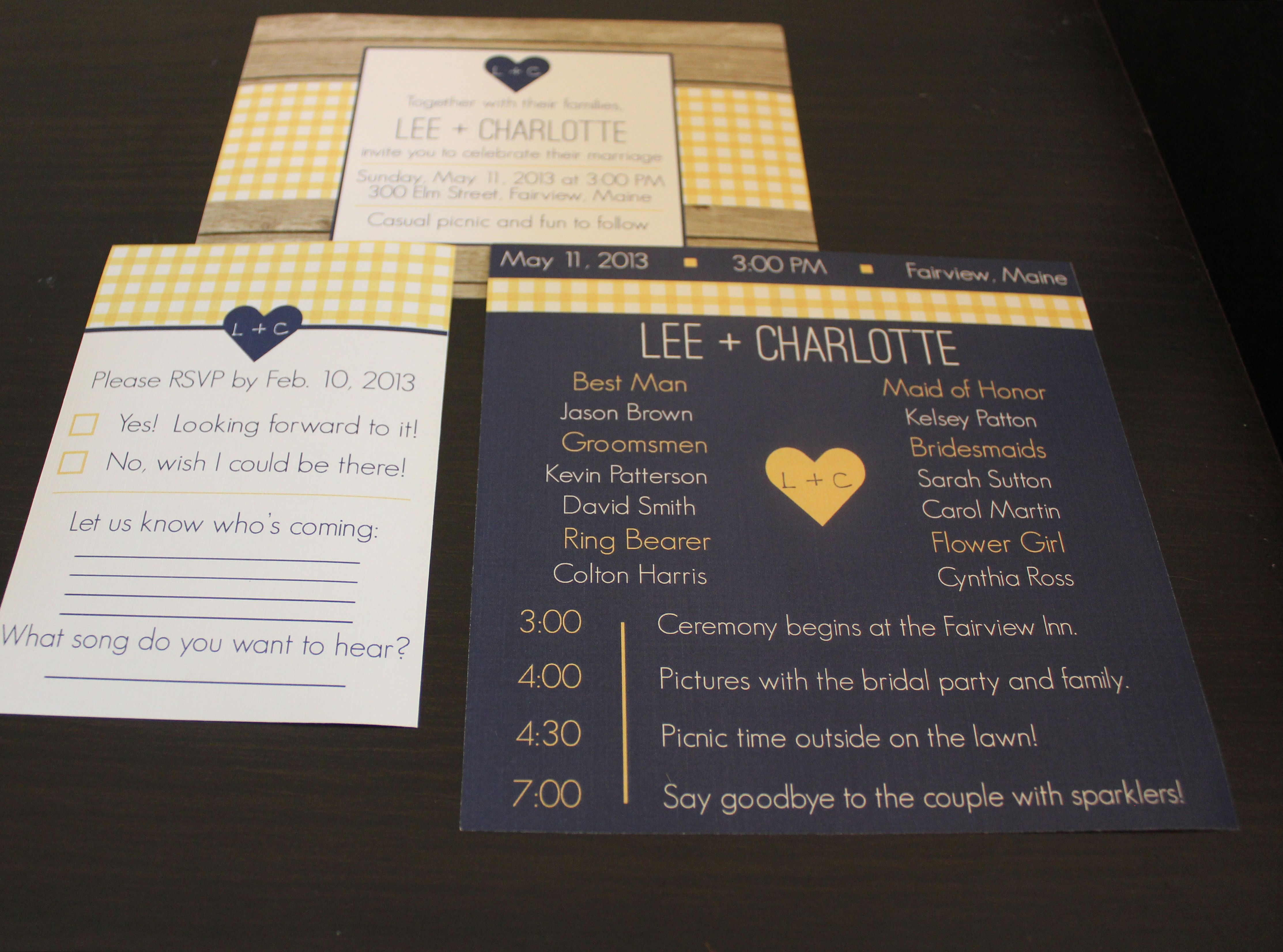 picnic wedding invitations wedding programs and wedding rsvp cards