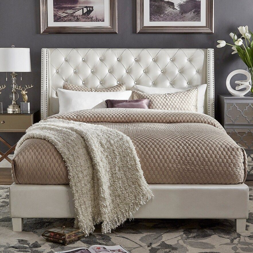 HomeVance Violette Faux Crystal Tufted Wingback Bed #graybedroomwithpopofcolor
