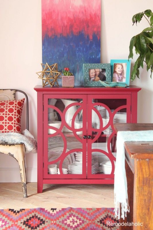 Red dining room buffet table from @sauderusa -- love the turquoise ...