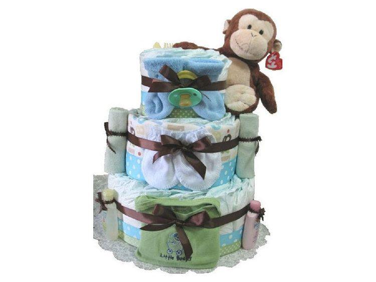Boy diaper cake blue monkey diaper cake baby by