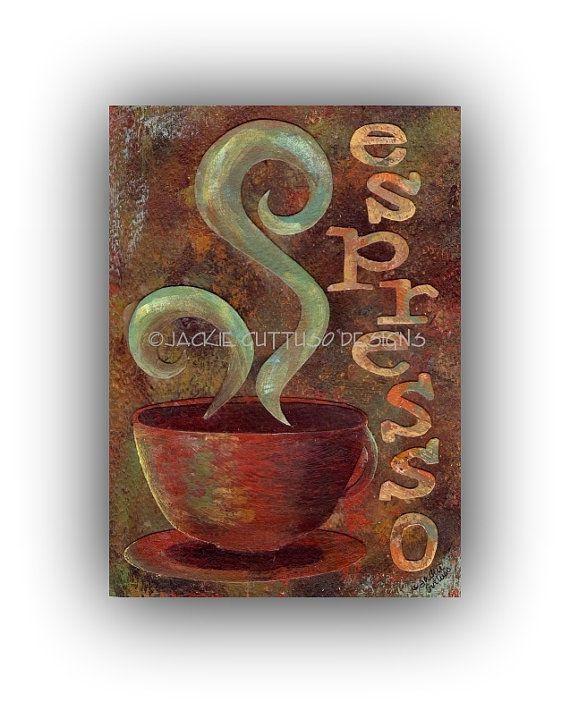 Espresso Painting Original Coffee Wall Art Coffee Cup Art Coffee Collage Acrylic Kitchen Art 5 X 7 Original Coffe Coffee Wall Art Coffee Cup Art Painting