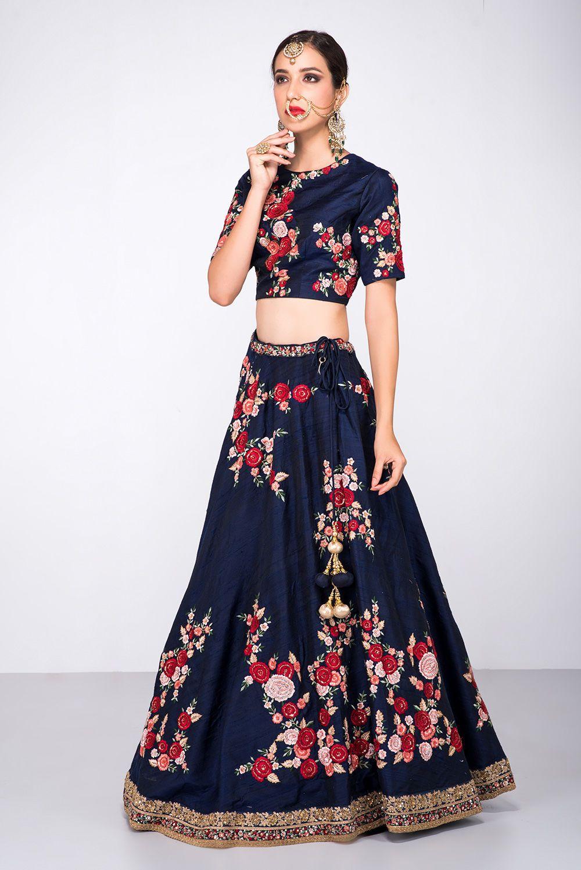 Niyoosh navy blue floral lehenga blouse designs pinterest navy