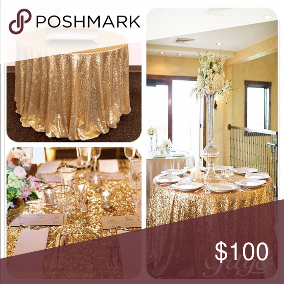 90 Round Sparkly Gold Sequin Table Cloth Gold Sequin Tablecloth Sequin Table Gold Tablecloth