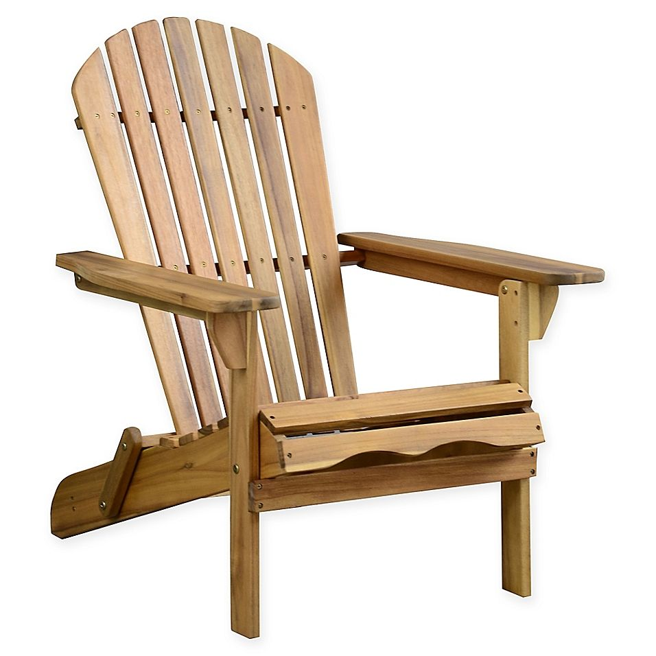 Acacia wood adirondack folding chair in oil finish