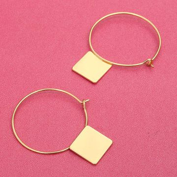 Fashion Gold Plated Hoop Earrings With Square Drop