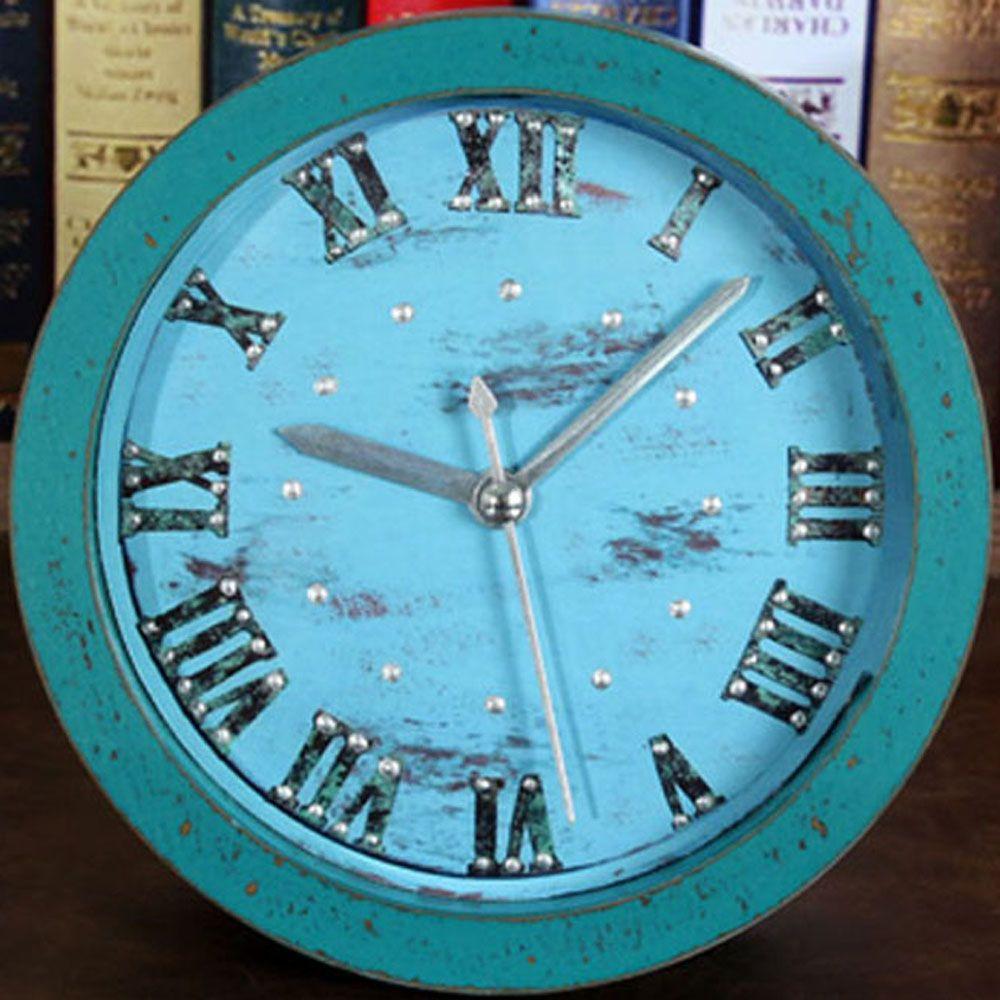 European Retro Antique Style 3D Rivet Desk Clock Roman ...