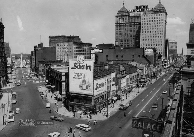 Shelton Square: Until the lifeless and drab Main Place Mall and Tower replaced its character-filled old buildings, billboards and neon signs, Shelton Square was more or less Buffalo's version of Times Square.