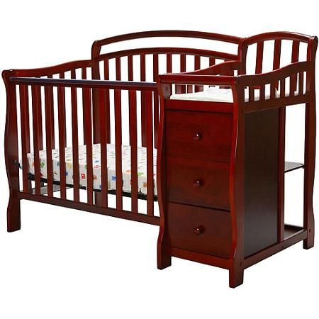 Dream On Me Casco 4 In 1 Mini Crib And Dressing Table Cherry Walmart Com Mini Crib Cribs Crib With Changing Table
