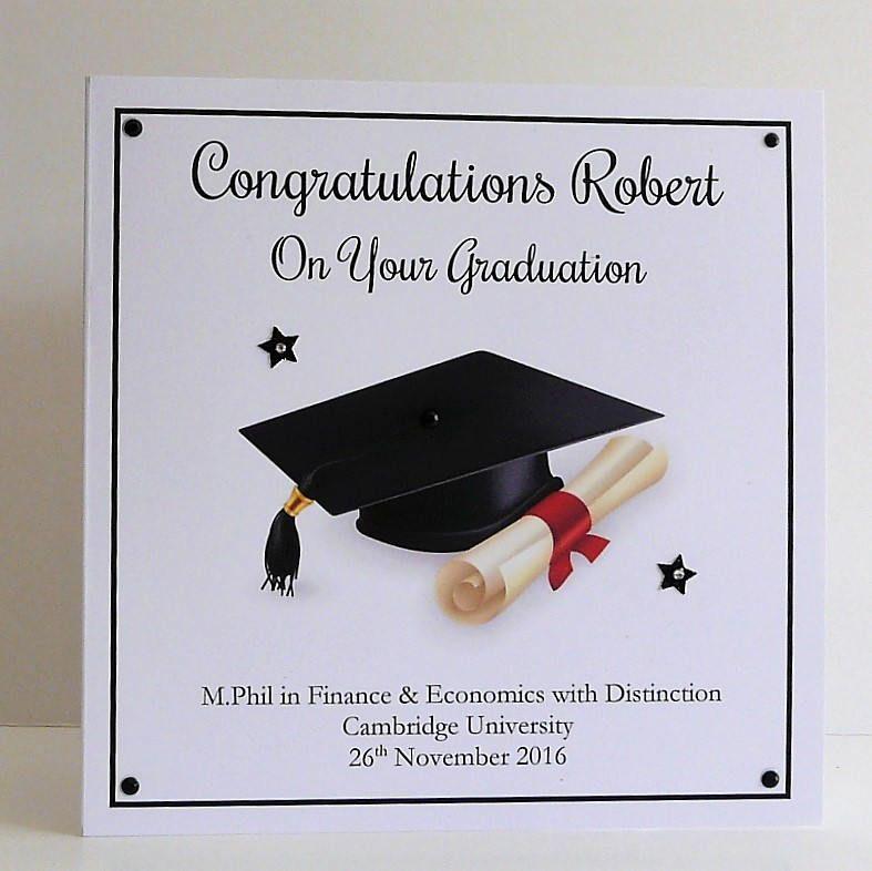 graduation card personalised handmade large 8x8 inch size