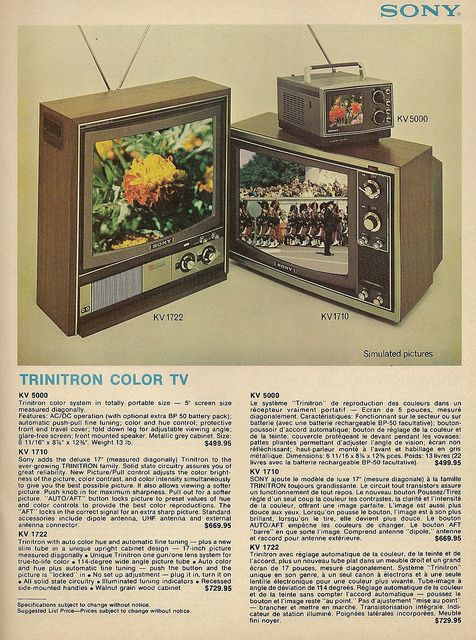 Sony Trinitron TV from the 1970's.  Was regarded as top of the line, but not cheap.$499-599 then would be @2135 - 2,563 today
