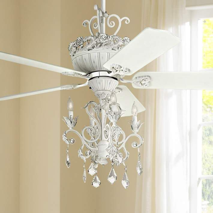 52 Casa Chic Rubbed White Chandelier Ceiling Fan 12277 4g156 Lamps Plus