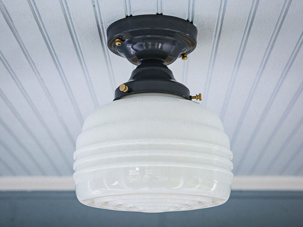 Milk Glass Bath Light: Vintage Schoolhouse Farmhouse Rewired Semi Flush Mount