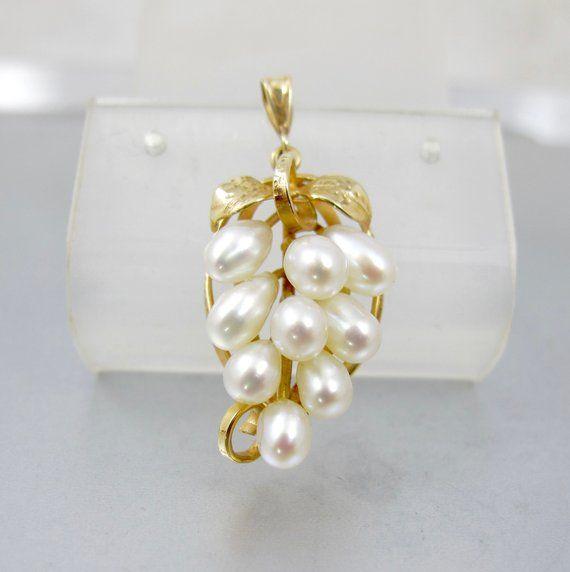 4f58908875a75 14K Pearl Grape Cluster Pendant. Ming's Of Honolulu Akoya Baroque ...