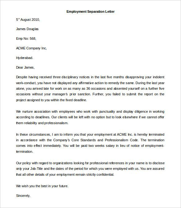Download Employment Separation Letter Template Word Format This