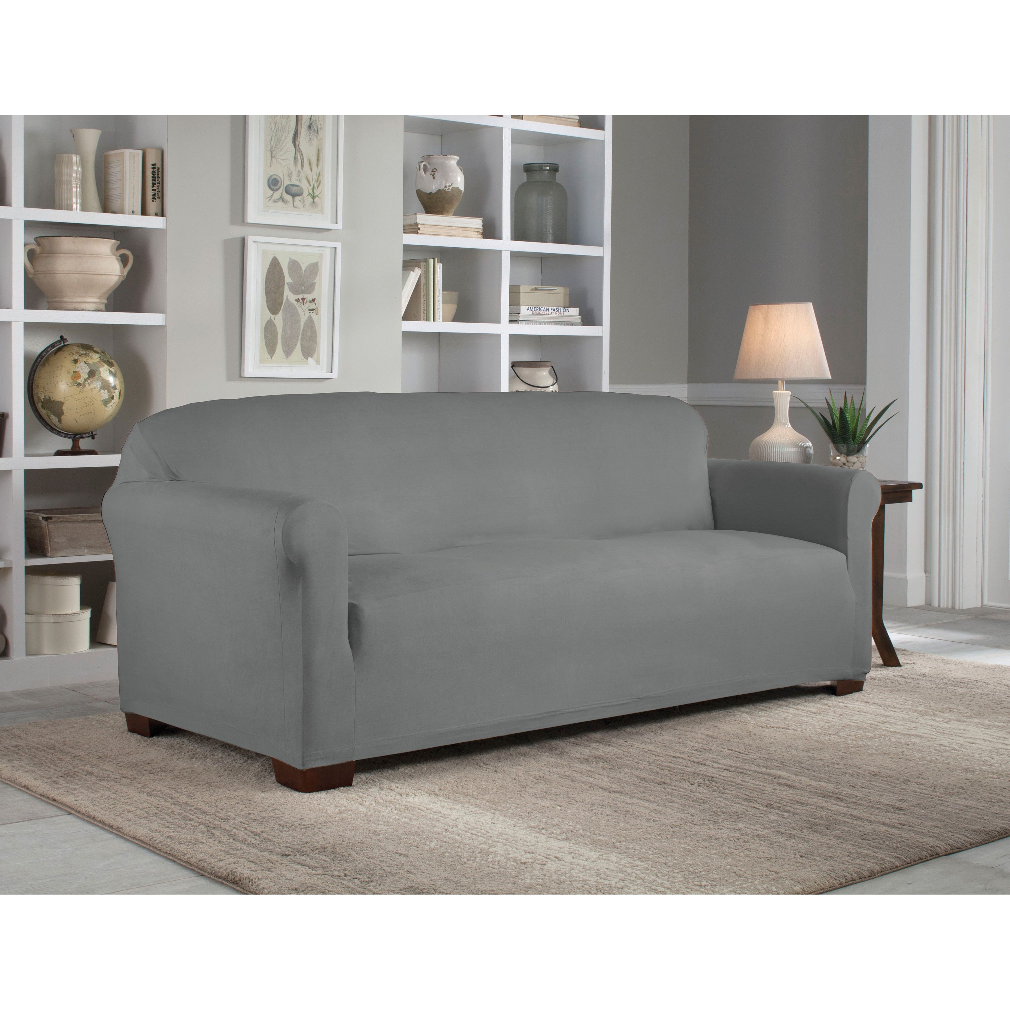 Tailor Fit Reversible Stretch Suede Sofa Slipcover As Is Item