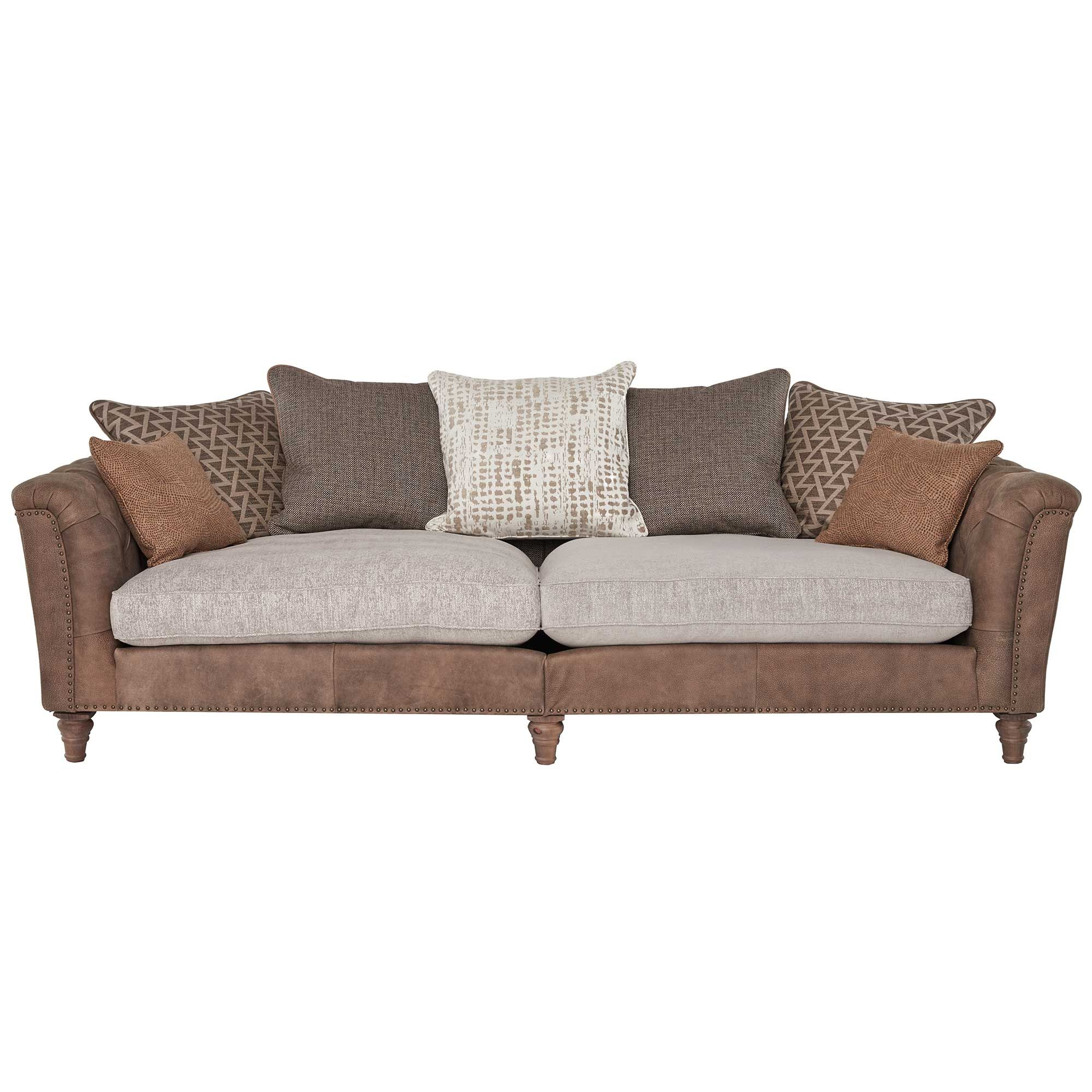 Darwin Grand Split Leather And Fabric Mix Pillow Back Sofa Available Online At Barker Stonehouse Browse Our Fab Formal Living Room Decor Sofa Mixing Fabrics