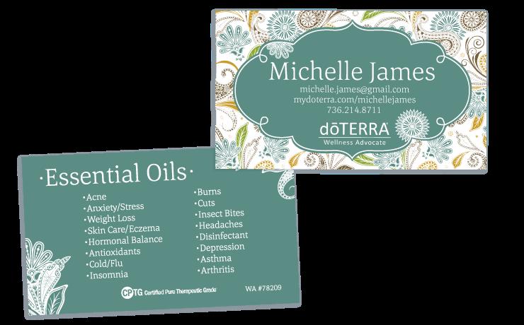 Paisley Aqua Theme Doterra Business Card For Wellness Advocates
