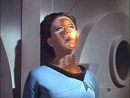 Lt. Romaine becomes possessed by aliens in The Lights of Zetar--Strange incorporeal aliens threaten the Memory Alpha station and the Enterprise.