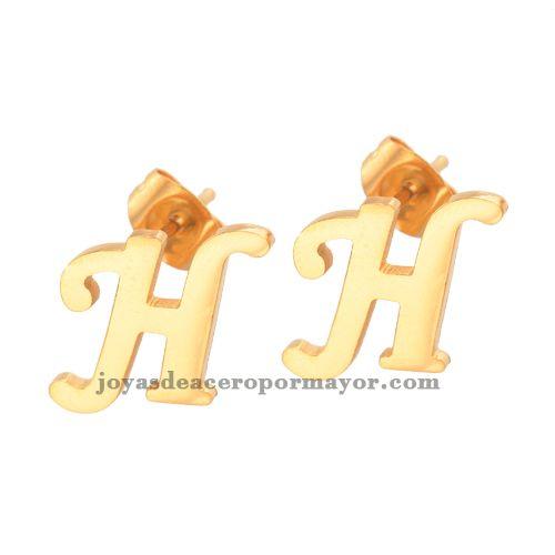 8ff486b9297c compra aretes de acero 18k oro en letra H