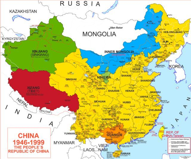 Map of China 1945-1999 | Chinese History | China map, Map ...