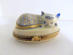 Limoges France Cat Trinket Box Peint Main L s Sleeping Cat Blue White Gold | eBay
