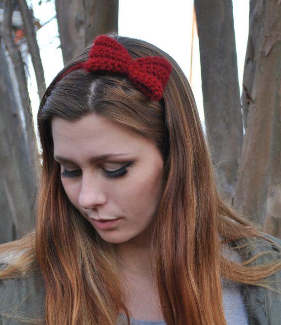 Mini Cranberry Red Crochet Bow Single Chain by KissCrochet on Etsy, $10.00