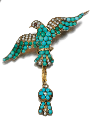 Turquoise and seed pearl brooch, circa 1830. Set with cabochon turquoise and seed and half pearls.