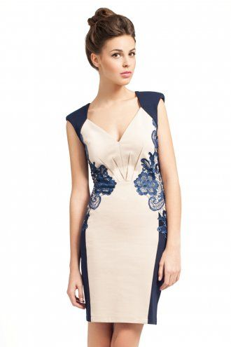 09f264fee94 Little Mistress Cream And Navy Lace Detail Bodycon Dress