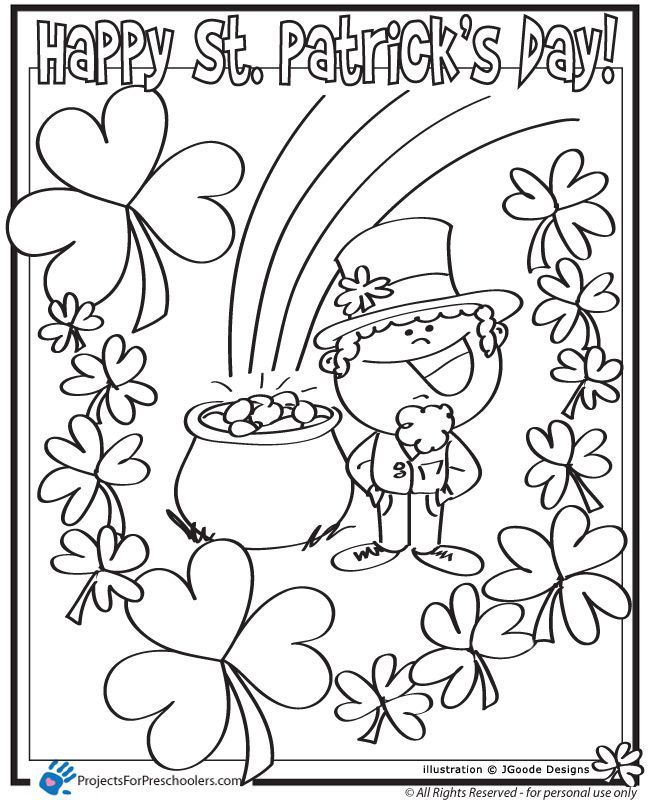 Beau St Patricks Day Leprechaun, Lucky Clover And Pot Of Gold Coloring Page :  Printables For Kids U2013 Free Word Search Puzzles, Coloring Pages, ...