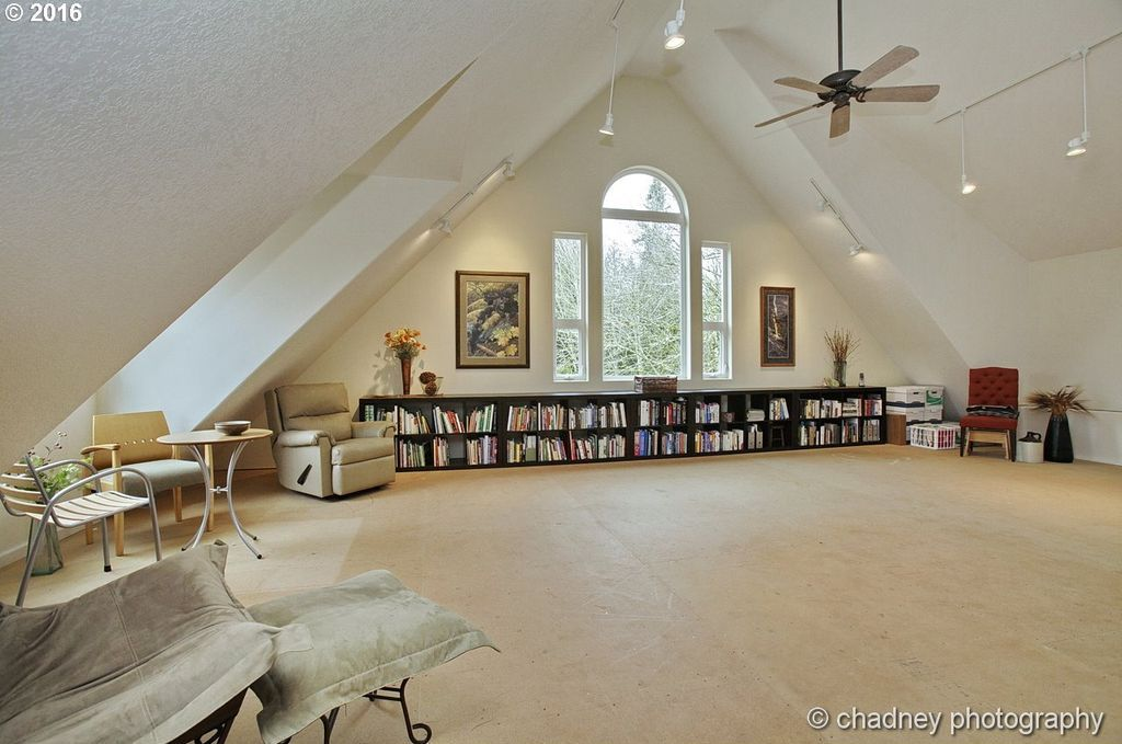 Transitional attic with cathedral ceiling pendant light flush transitional attic with cathedral ceiling pendant light flush light concrete floors ceiling fan aloadofball Choice Image