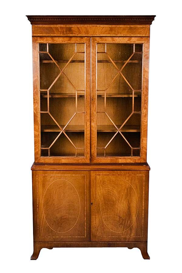 English Antique Style Mahogany Glass Door Bookcase   English Classics of  Atlanta - English Antique Style Mahogany Glass Door Bookcase English