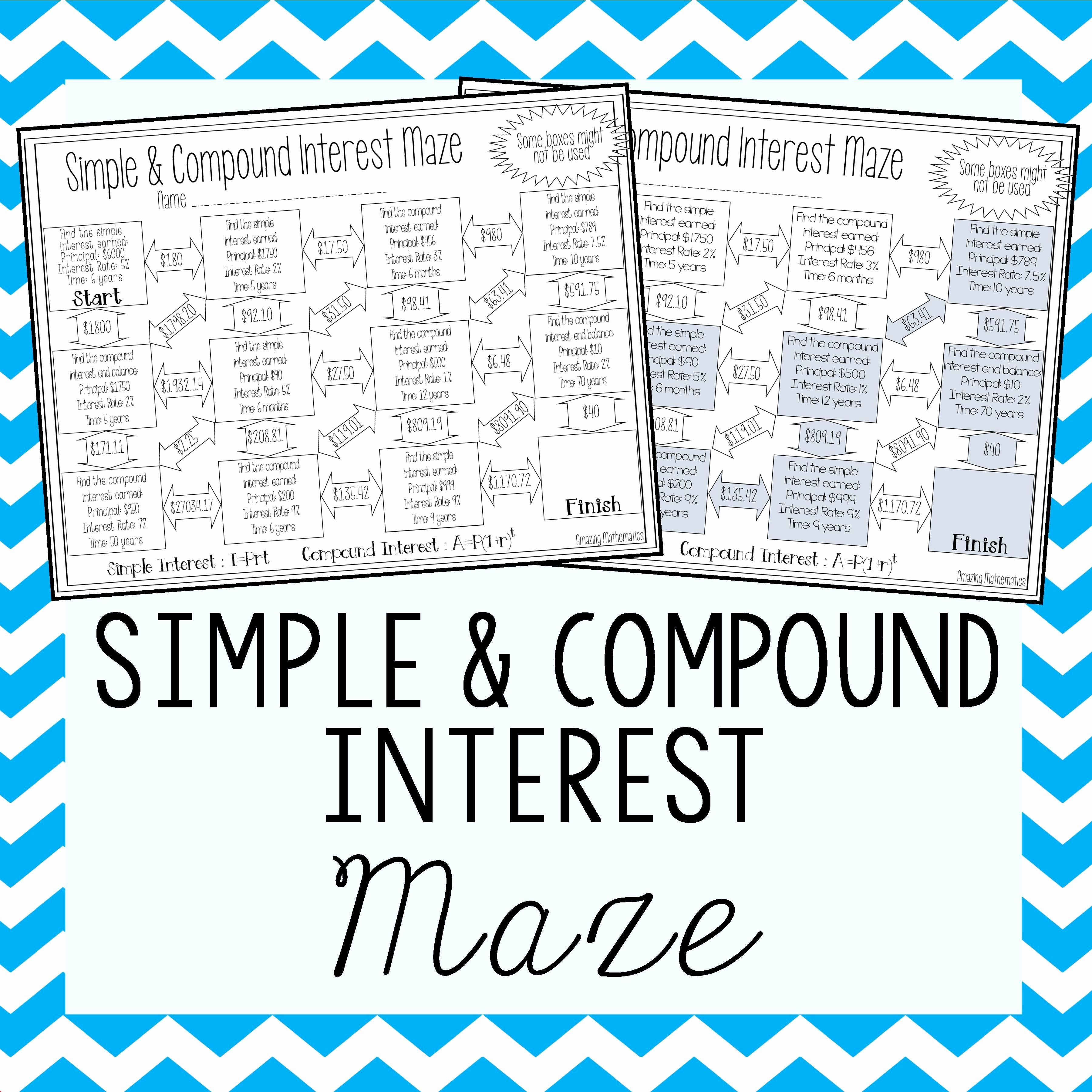 Simple And Compound Interest Worksheet Inspirational