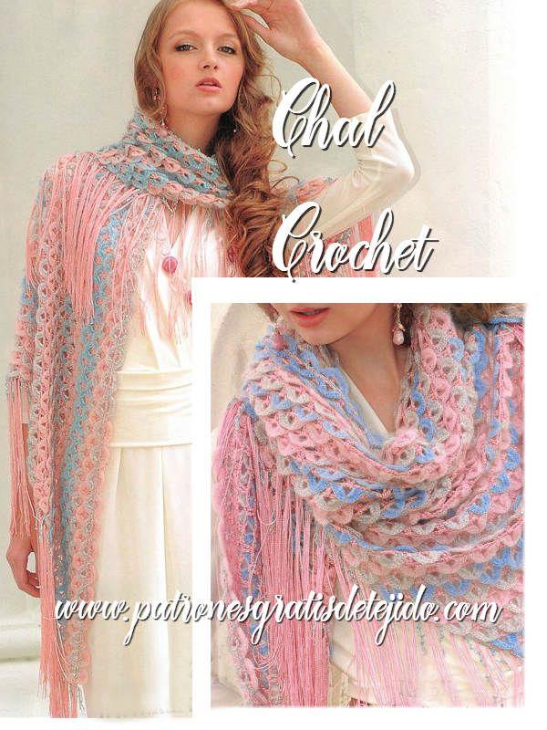 Patrones de chal para tejer ganchillo | Crochet y Dos Agujas ...
