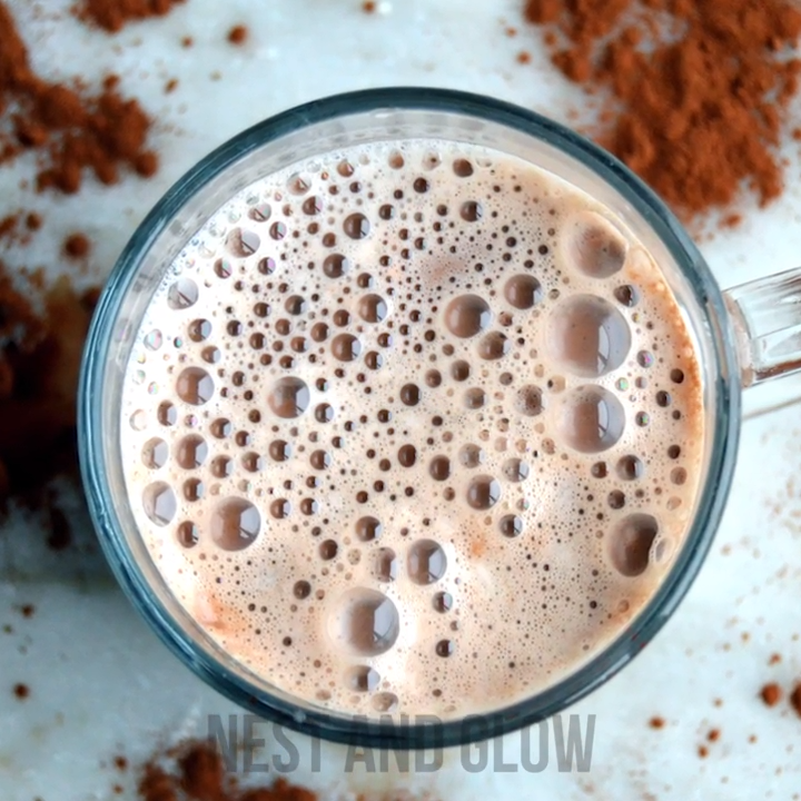 Healthy raw hot chocolate recipe that's created in minutes using cacao and cashews. Easy and inexpensive vegan hot chocolate