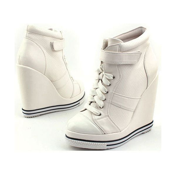 710841a2c0e Platform Wedge Heel Sneakers Kpop Celebrities High Top Ankle Shoes 886  White found on Polyvore
