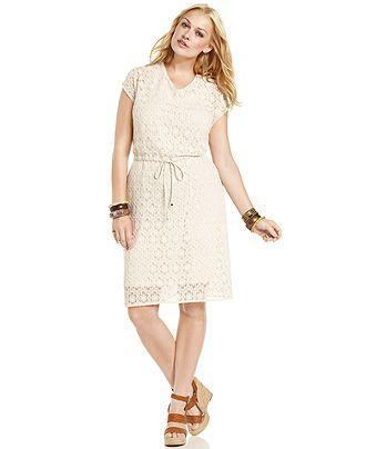 American Rag Plus Size Dress Short Sleeve Floral Lace Drawstring